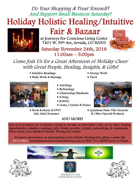Flyer for Healing Fair - November 24th 2018