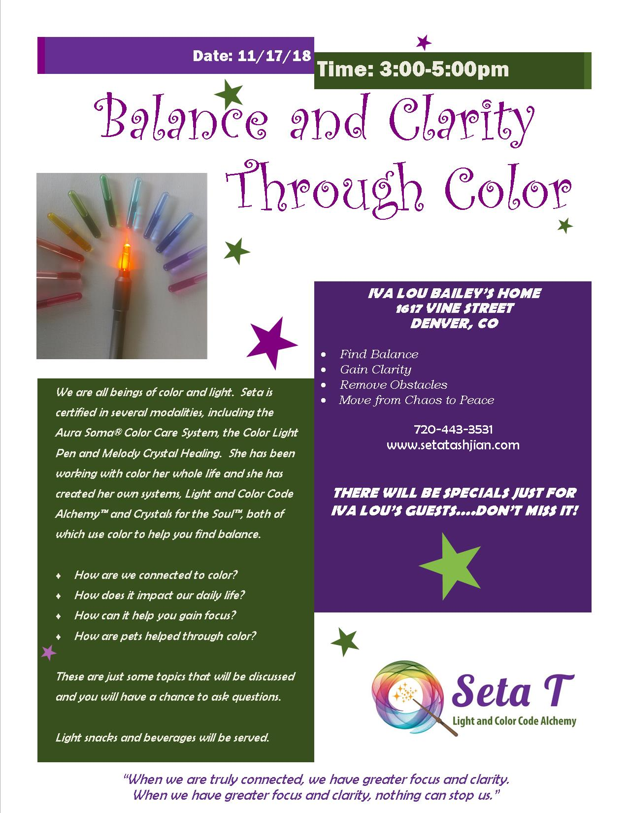 Seta Tashjian - Balance and Clarity Through Color Nov 17, 2018