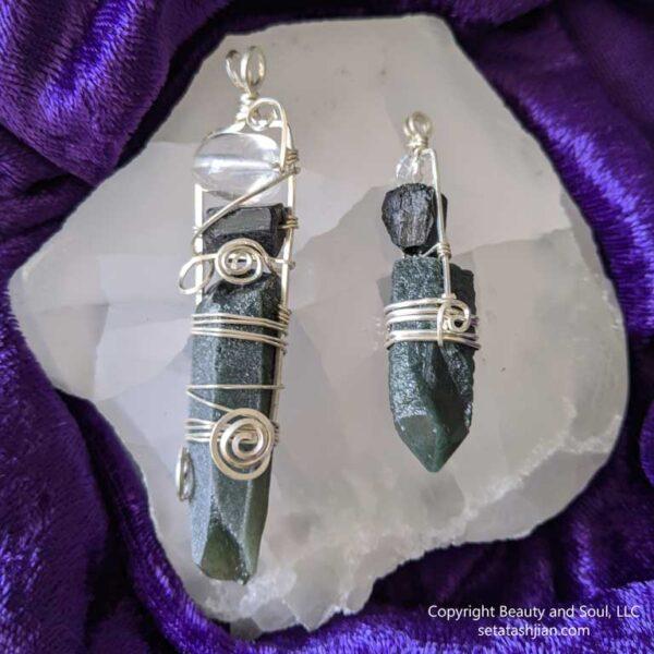 Hedenbergite, Black Tourmaline and Clear Quartz Pendants from Seta Tashjian