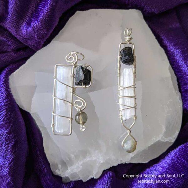 Selenite, Labradorite and Black Tourmaline Pendants from Seta Tashjian