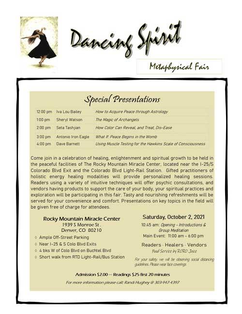 Dancing Spirit Metaphysical Fair 2021